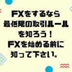 FXをするなら最低限の取引ルールを知ろう!FXを始める前に知って下さい。