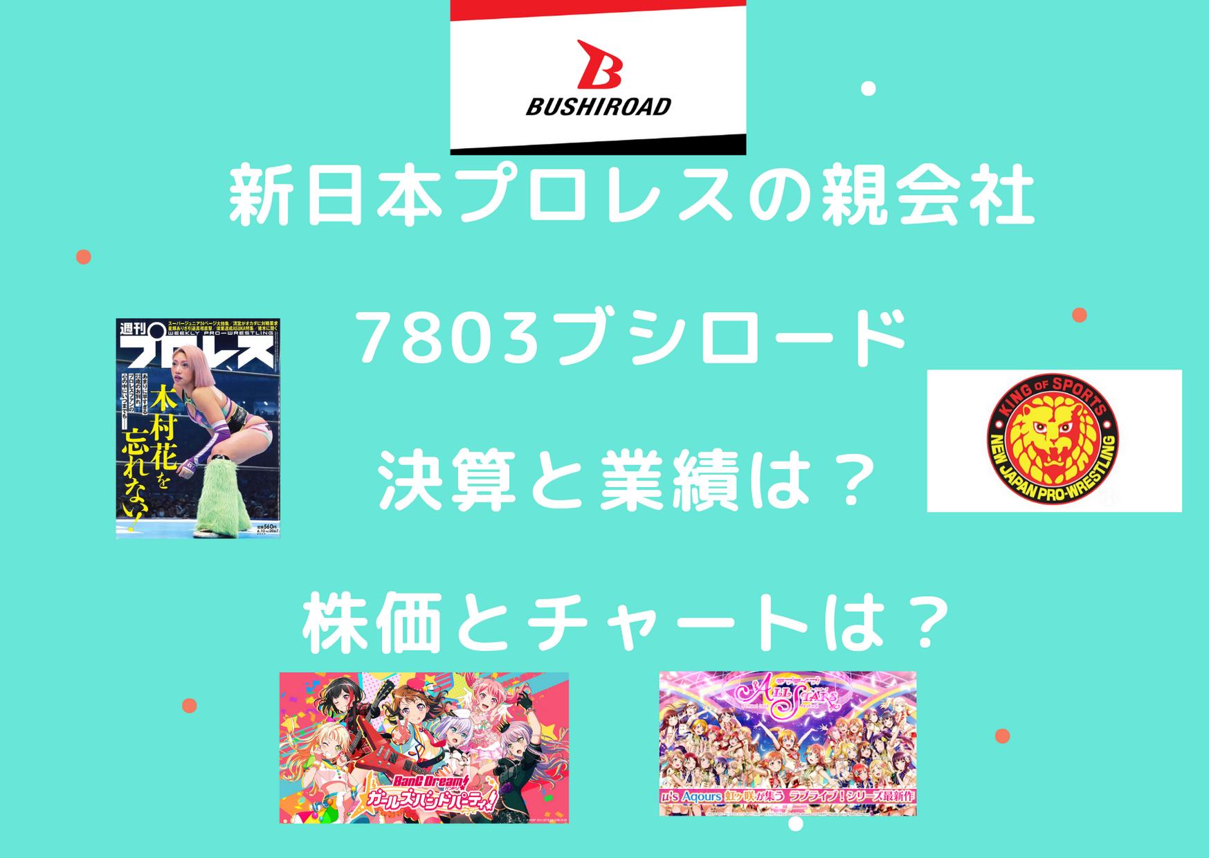 新日本プロレスの親会社7803ブシロード!決算と業績、株価とチャートは?